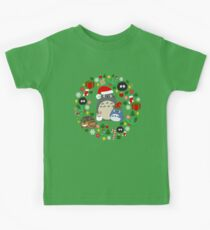 Christmas Totoro in Lighter Grey - Holiday, Xmas, Presents, Peppermint, Candy Cane, Mistletoe, Snowflake, Poinsettia, Anime, Catbus, Soot Sprite, Blue, White, Manga, Hayao Miyazaki, Studio Ghibl Kids Clothes