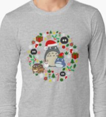 Christmas Totoro in Lighter Grey - Holiday, Xmas, Presents, Peppermint, Candy Cane, Mistletoe, Snowflake, Poinsettia, Anime, Catbus, Soot Sprite, Blue, White, Manga, Hayao Miyazaki, Studio Ghibl T-Shirt