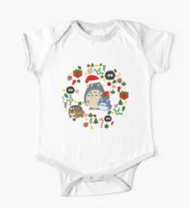 Christmas Totoro in Lighter Grey - Holiday, Xmas, Presents, Peppermint, Candy Cane, Mistletoe, Snowflake, Poinsettia, Anime, Catbus, Soot Sprite, Blue, White, Manga, Hayao Miyazaki, Studio Ghibl One Piece - Short Sleeve