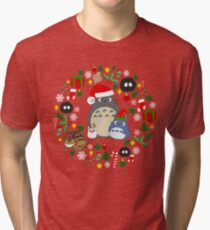 Christmas Totoro in Lighter Grey - Holiday, Xmas, Presents, Peppermint, Candy Cane, Mistletoe, Snowflake, Poinsettia, Anime, Catbus, Soot Sprite, Blue, White, Manga, Hayao Miyazaki, Studio Ghibl Tri-blend T-Shirt