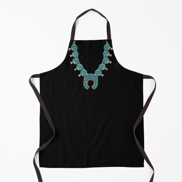 NATIVE AMERICAN NECKLACE GRAPHIC, SQUASH BLOSSOM, TURQUOISE,  NECKLACE, INDIAN JEWELRY, WESTERN LOOK Apron