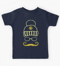 Vector Set Christmas Calligraphic Design Elements and Page Decoration, hat glasses and mustache hipster with golden texture Kids Tee