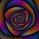 Spiral Labyrinth in Blue Orange and Pink by Objowl