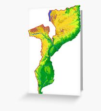 Mozambique Topographical Map Greeting Card