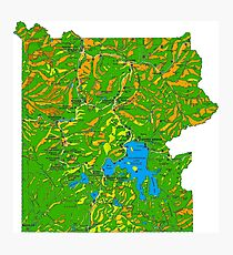 Yellowstone National Park Topographical Map Photographic Print