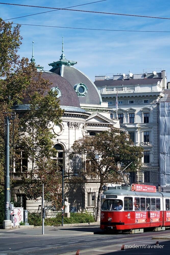 Vienna tram in the street by moderntraveller
