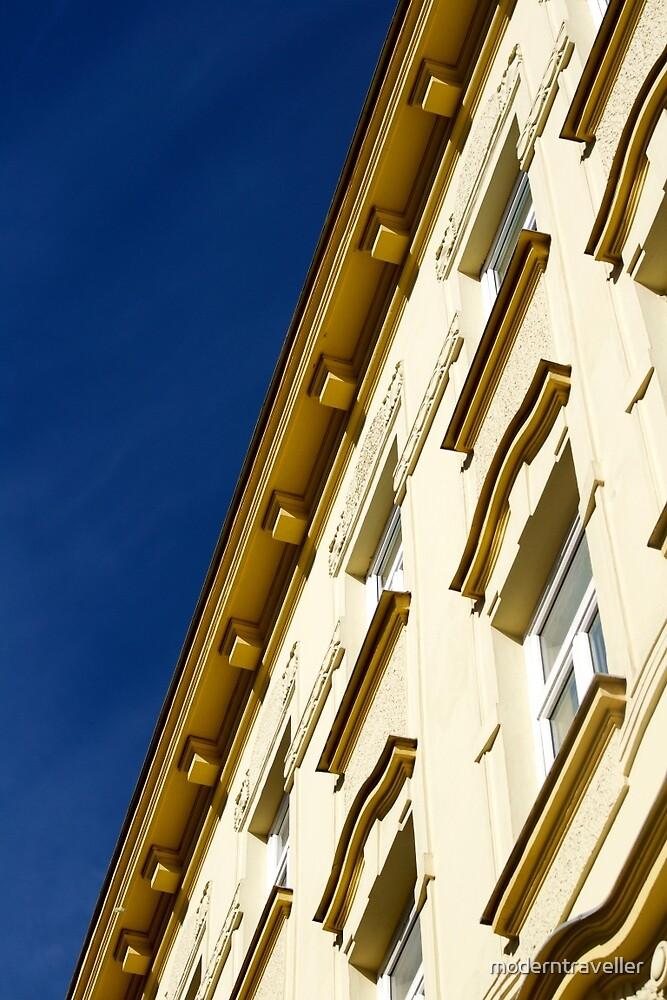 Windows in a yellow wall, Vienna by moderntraveller