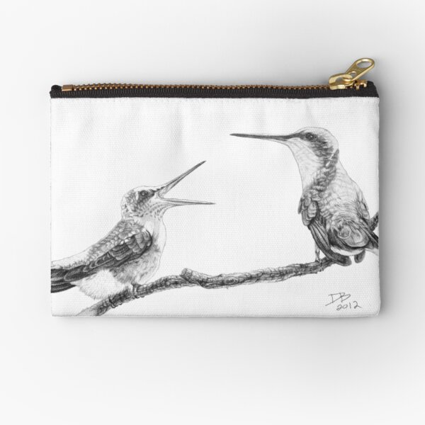 Ruby-Throated Hummingbird: Mother and Chick, 2012, Pencil Zipper Pouch