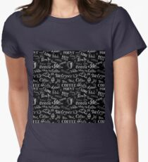 seamless doodle coffee pattern on black background T-Shirt