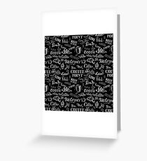 seamless doodle coffee pattern on black background Greeting Card