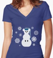 White Christmas Mouse - Hoodie / Sweatshirt (see other for t-shirts) Women's Fitted V-Neck T-Shirt