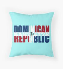 Dominican Republic Font With Dominican Flag Throw Pillow