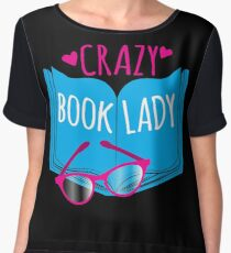 Crazy Book Lady with a pair of glasses and a book in blue Chiffon Top