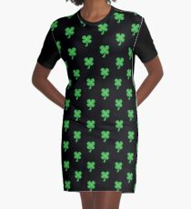 Green clover shamrock for St Patrick's day cute! Graphic T-Shirt Dress