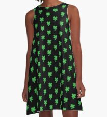 Green clover shamrock for St Patrick's day cute! A-Line Dress