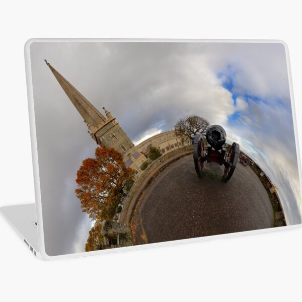 St Columb's Cathedral from Derry's Walls at Church Bastion, Derry Laptop Skin