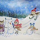 Owls playing in snow by Redilion