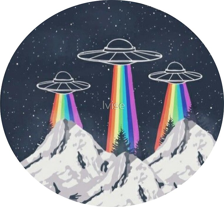 Alien Spaceship Drawing: Stickers