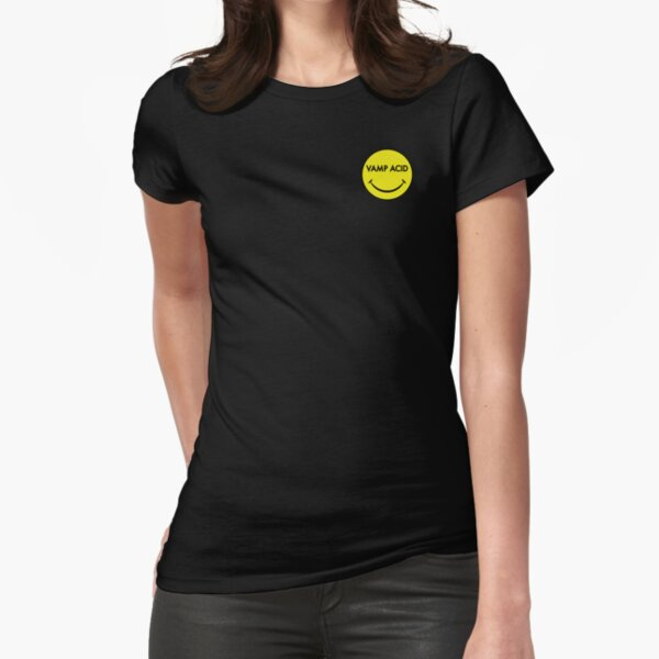 Vamp Acid Small Polo Techno Electro Smiley Fitted T-Shirt