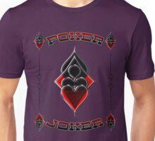 Great Poker Joker Design Spades Hearts Diamonds Club Shiny Bling Overlap Unisex T-Shirt