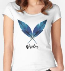 Writer! Blue Feathers Women's Fitted Scoop T-Shirt