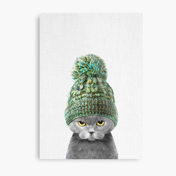 Kitten wearing a hat Metal Print