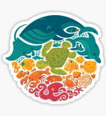 Aquatic Rainbow (light blue) Sticker