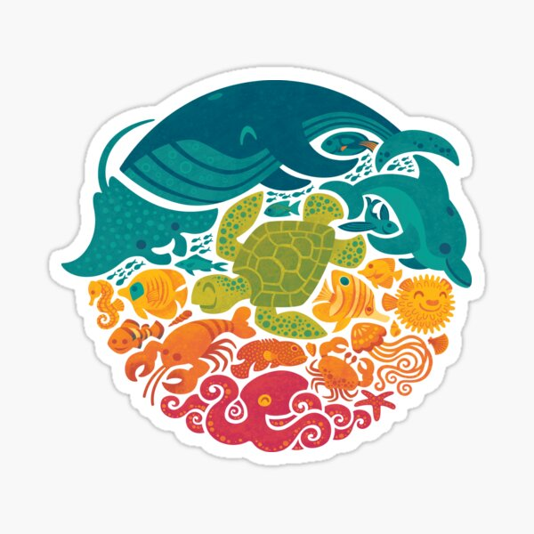 Aquatic Rainbow (light blue) Sticker