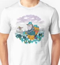 Mountain Guy and Owl Friend Unisex T-Shirt