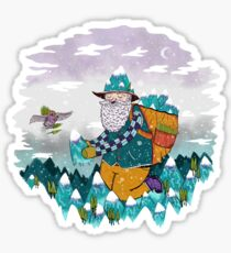 Mountain Guy and Owl Friend Sticker