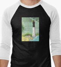 Hunting Island SC Lighthouse Nautical Chart Peek Men's Baseball ¾ T-Shirt