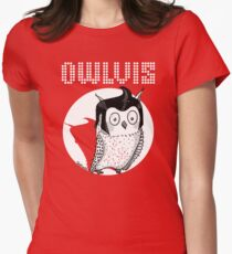 Owlvis (Elvis Parody) Womens Fitted T-Shirt