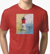 Nauset Beach Lighthouse MA Cape Cod Map Cathy Peek Tri-blend T-Shirt