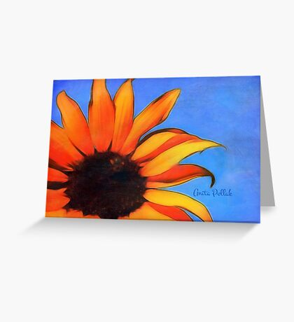 Painted Sunflower with Bee Greeting Card