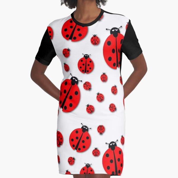 Many Ladybugs Shadows Graphic T-Shirt Dress
