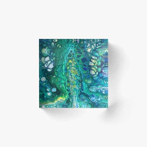 Fluid Art/Acrylic Pour, Abstract Art- Breakthrough Acrylic Block
