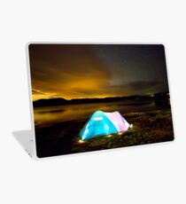 Tent by lake under stars Laptop Skin