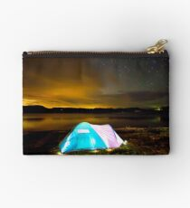 Tent by lake under stars Studio Pouch