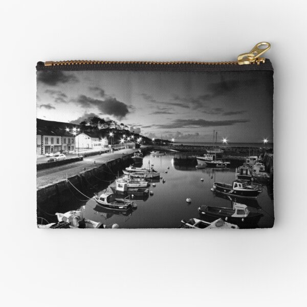 Night photography - B & W of Carnlough. Zipper Pouch