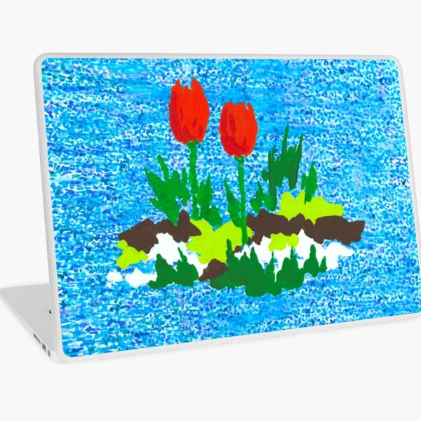 FUN WITH RED TULIPS Laptop Skin