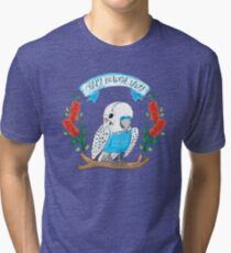 Crazy Budgie Lady (with banksia flowers) Tri-blend T-Shirt