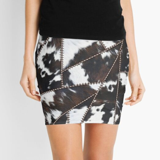 Illustration Pattern of Cowhide Patchwork (not real, faux, smooth print) Mini Skirt