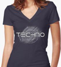 TECHNO Women's Fitted V-Neck T-Shirt