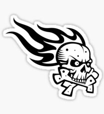 Skull Flame Crossbones Sticker