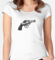 Simple Revolver Pistol Women's Fitted Scoop T-Shirt