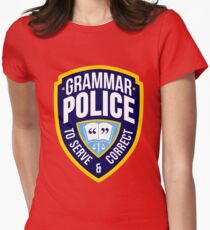 Grammar Police Badge Womens Fitted T-Shirt