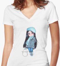 Kekita invierno Women's Fitted V-Neck T-Shirt