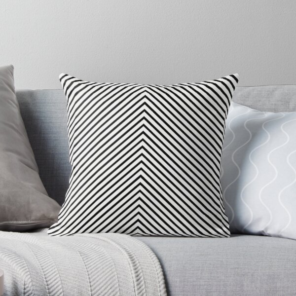 Black and White Striped Chevron Throw Pillow