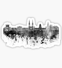 Belfast skyline in black watercolor on white background Sticker