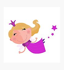 Little cute Pink flying princess Kids artwork Photographic Print